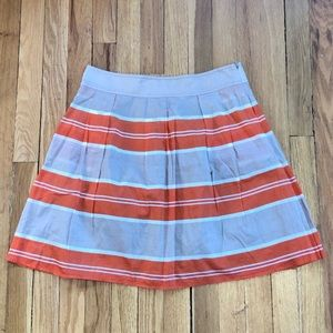 Lands' End Canvas Orange and Tan Striped Skirt.